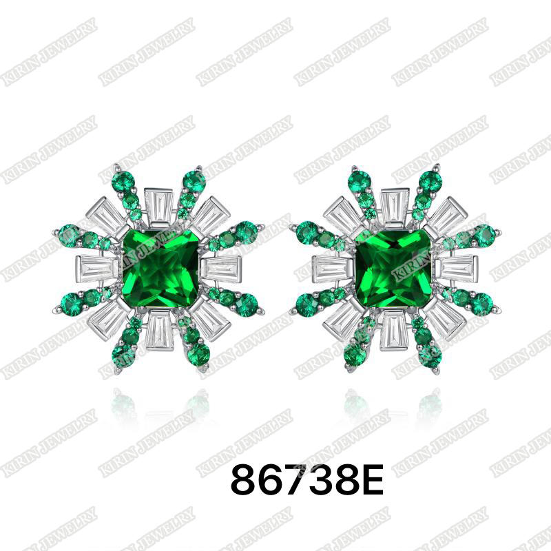 925 sterling silver earrings for women emerald cubic zircon 86738E