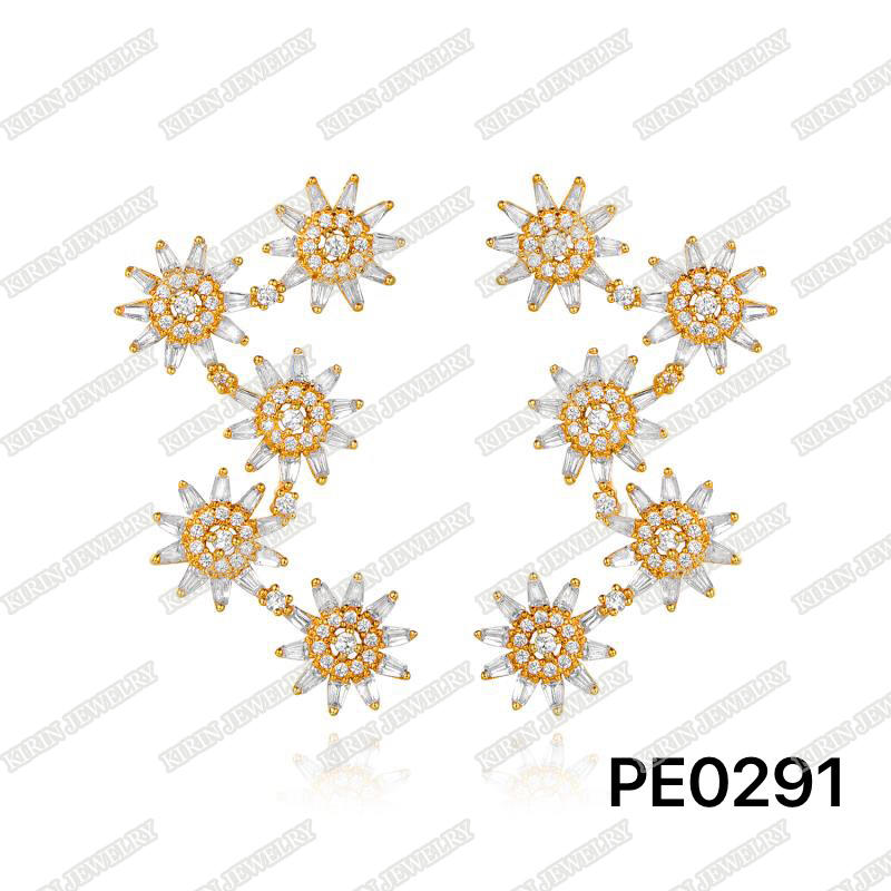 925 sterling silver jacket earrings rose gold plating PE0291