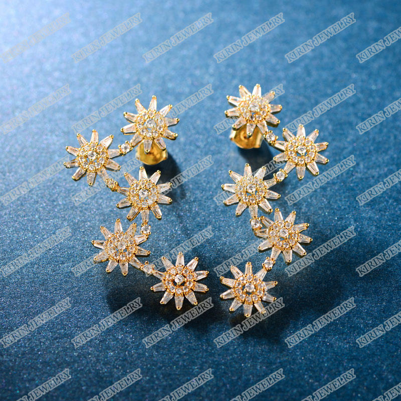 925 sterling silver jacket earrings rose gold plating earrings PE0291