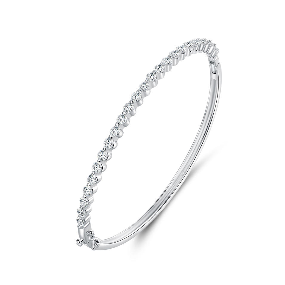 925 sterling silver Classical Bangle with Cubic Zircon 51358