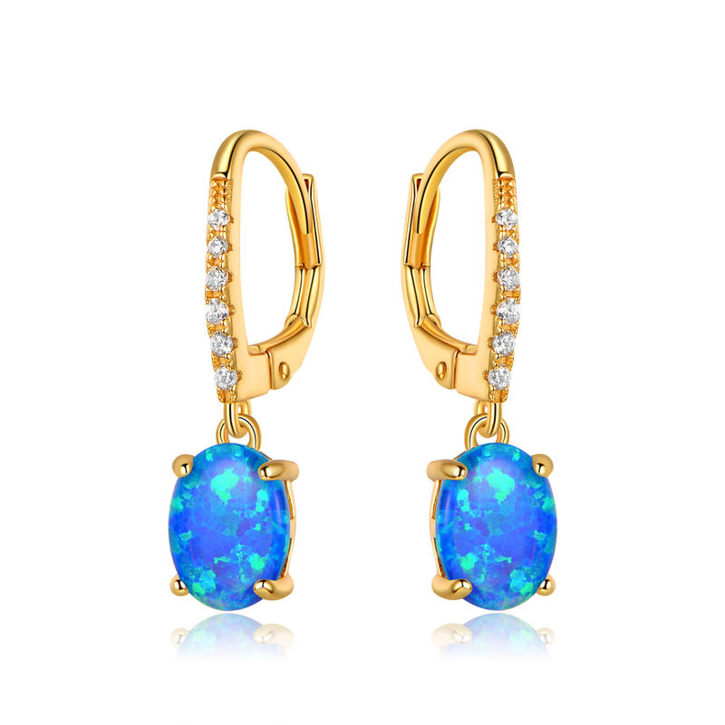 Opal Stud Earrings with 18K Gold Plating 301298