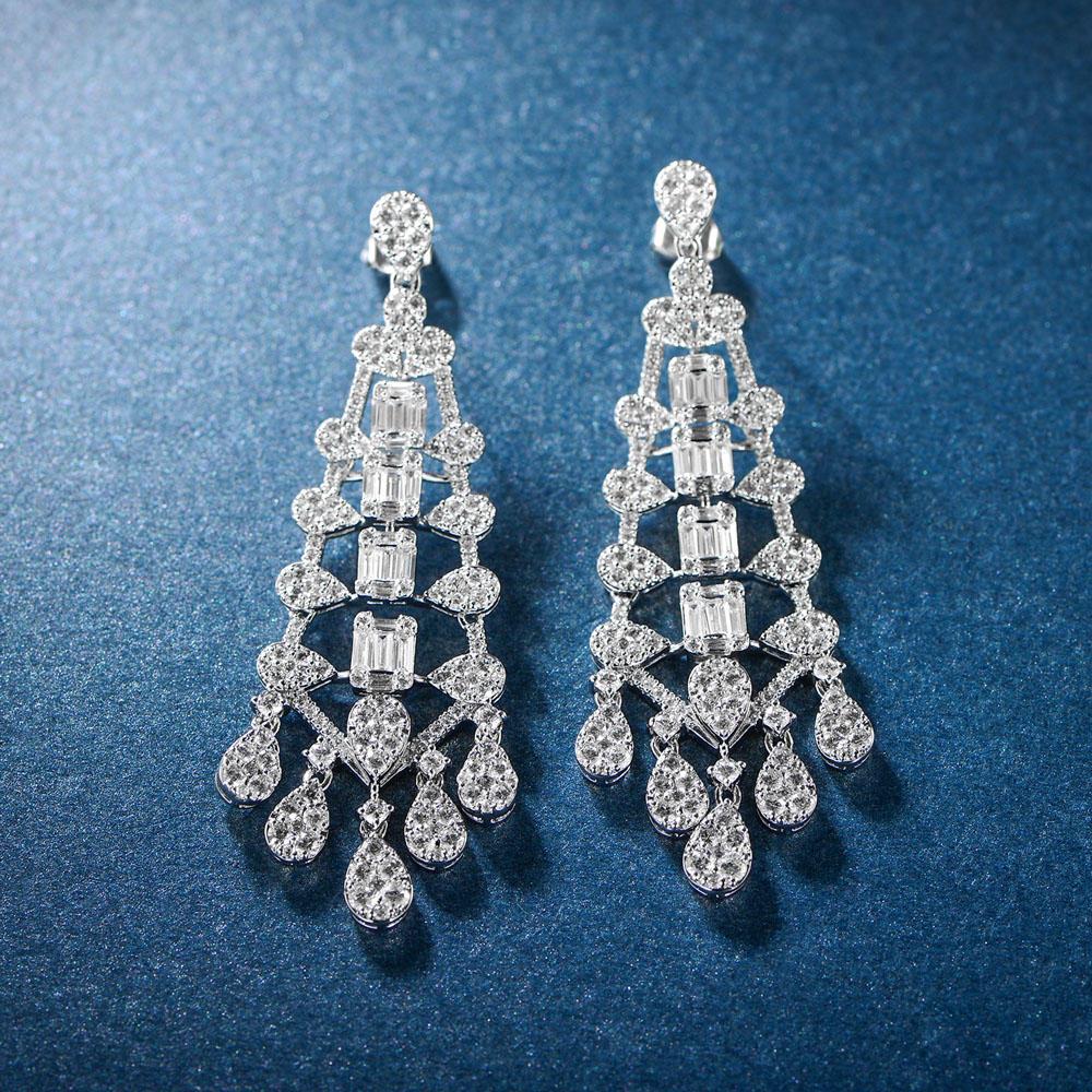 Baguette Drop Earrings for Women 300415