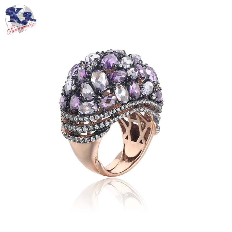 Kirin Jewelry -Silver Female Rings Mona Lisa Rose Gold Plated Amethyst Cubic