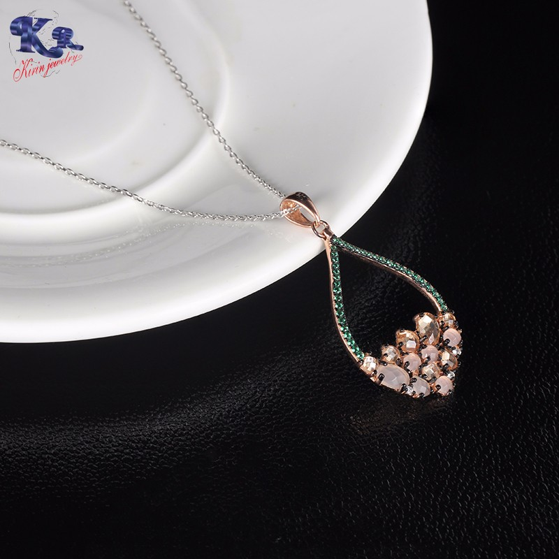 Kirin Jewelry -Find Diamond Necklace And Earring Set 925 Sterling Silver Set-2