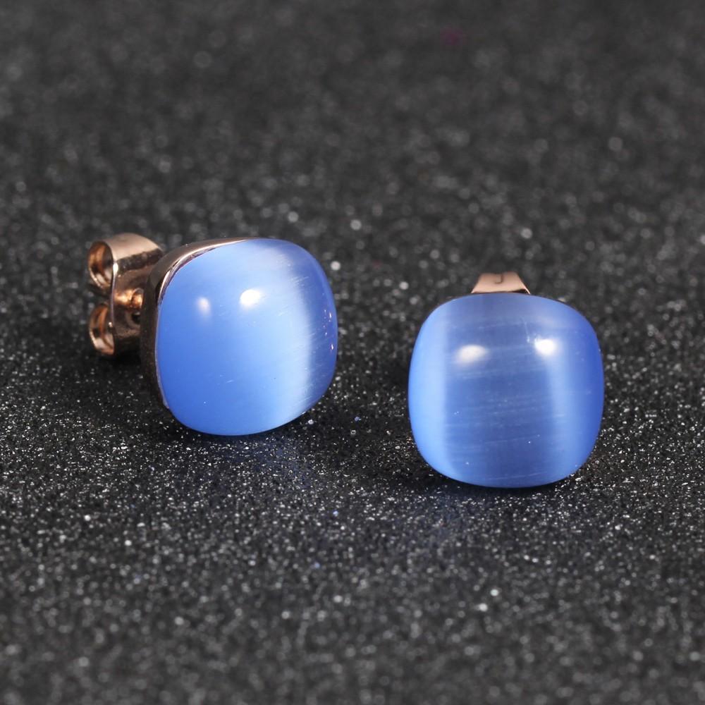 Kirin Jewelry -Best Sterling Silver Jewlry 925 Silver Jewellery Set Blue Cat Eye