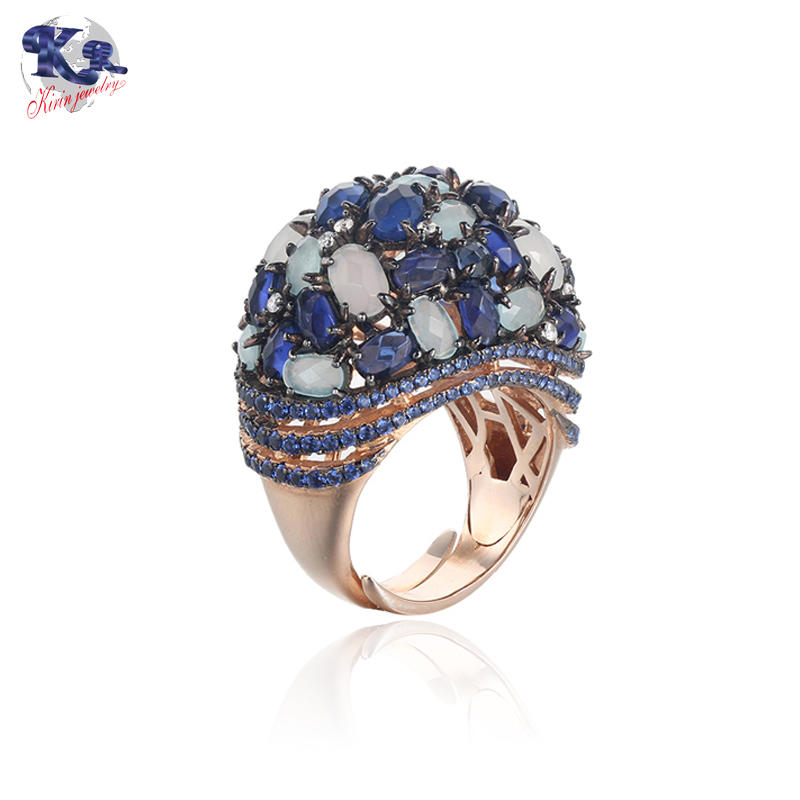 Kirin Jewelry -Manufacturer Of Wide Silver Band Ring Mona Lisa Rose Gold Plated Amethyst-1