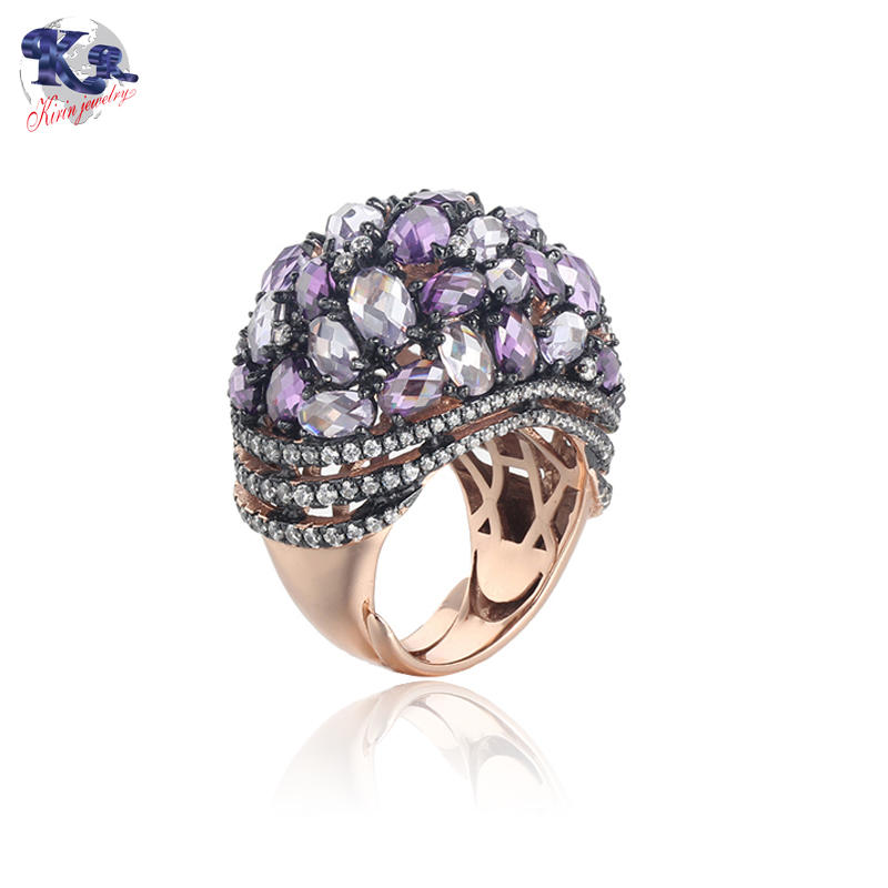 Kirin Jewelry -Manufacturer Of Wide Silver Band Ring Mona Lisa Rose Gold Plated Amethyst