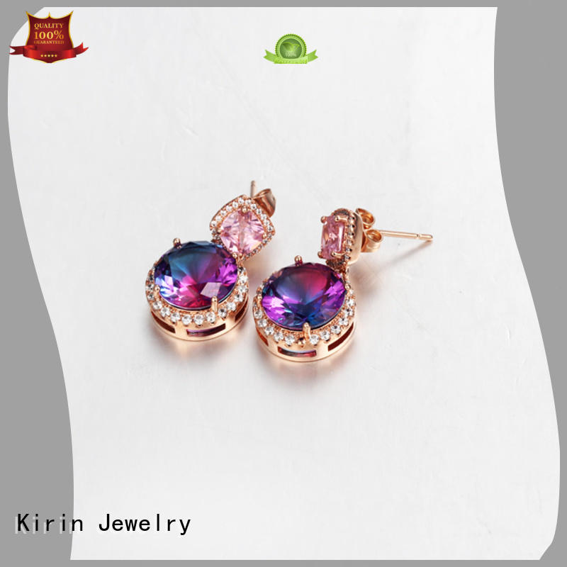 gold jewellery earrings rose bridal 925 sterling silver earrings Kirin Jewelry Brand