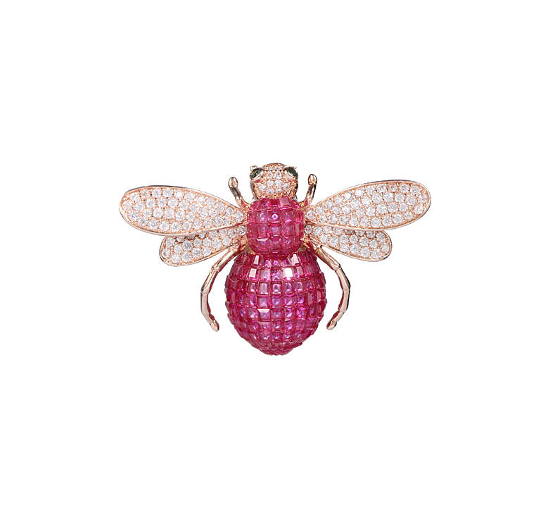 Kirin Jewelry -Cheap Silver Jewelry Classics Boxed Rose Gold Tone And Ruby Bee Brooch