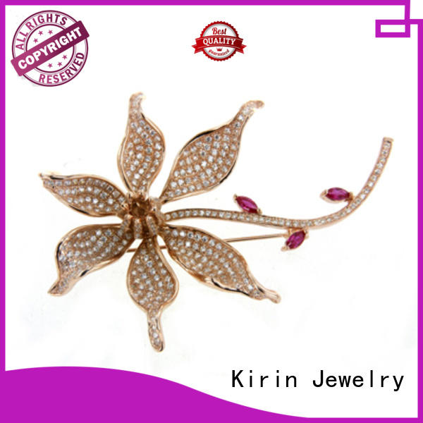 sterling silver brooches and pins ruby Kirin Jewelry Brand 925 sterling silver brooch