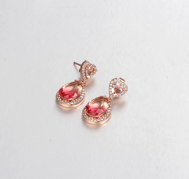 Kirin Jewelry -Real Sterling Silver Jewelry Fashion Heart Pear Design Rose Gold Plated