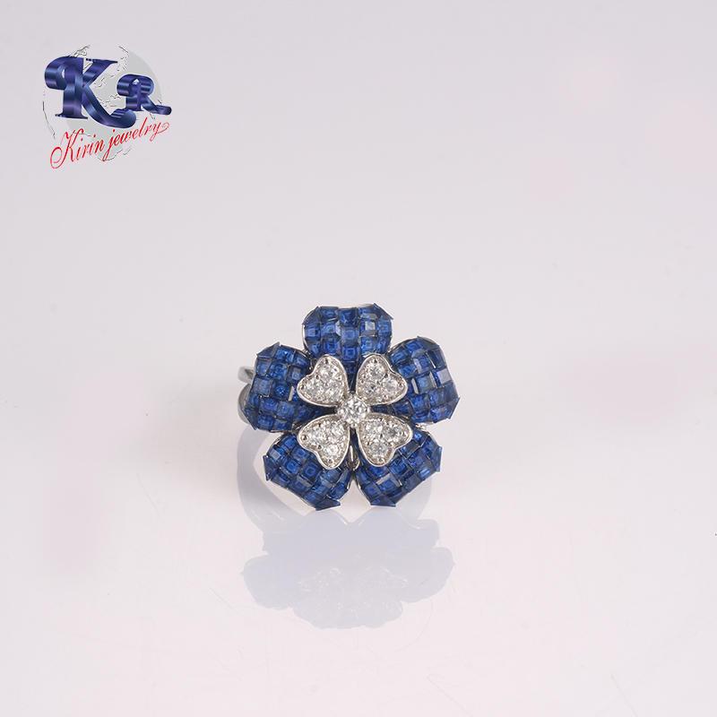 Wholesale Women 925 Silver Ring Blue Cubic Zirconia in Flower Shape