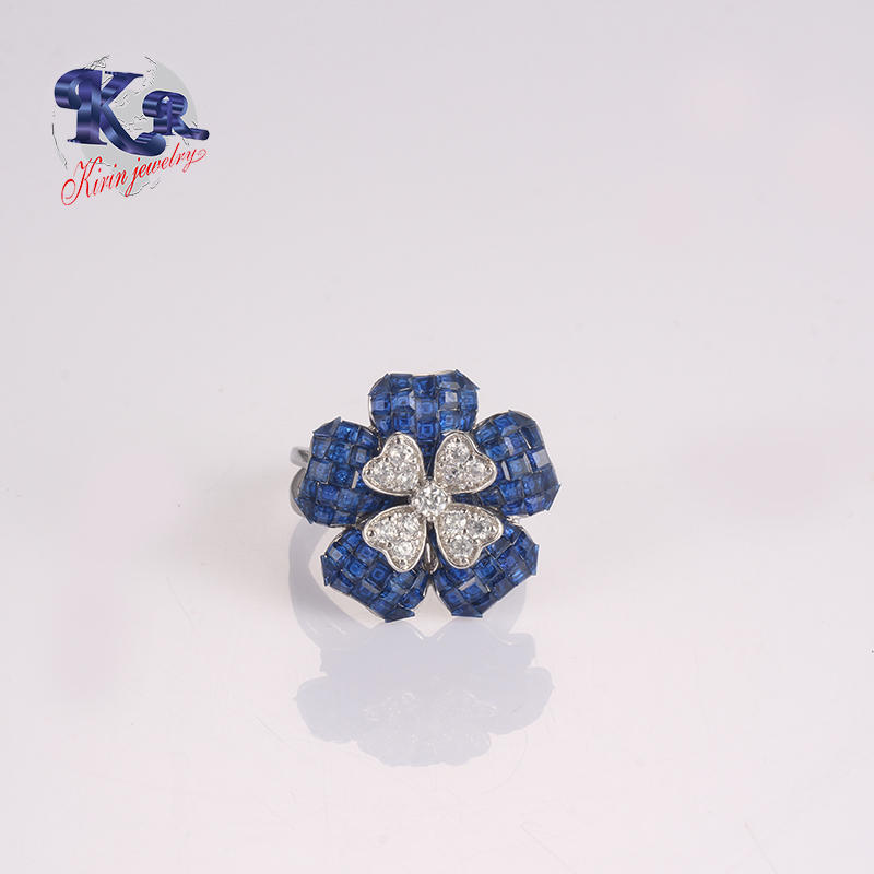 Wholesale Women 925 Silver Ring Blue Cubic Zirconia in Flower Shape