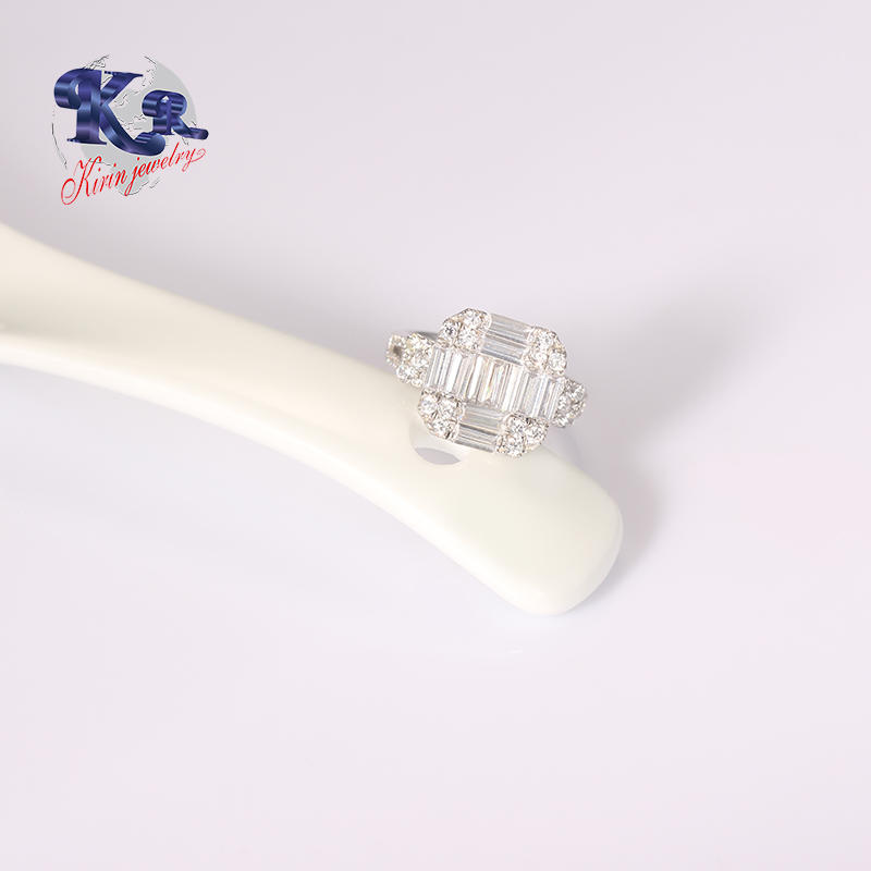 Custom Engagement s925 Ring With Baguette Stone Jewelry Supply