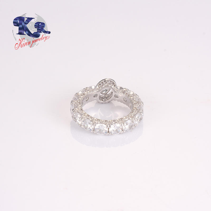 925 Sterling Silver Rings Paved With Elegant Diamond Handmade