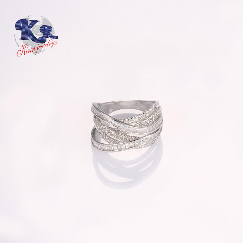 Unique Style Weave Cross 925 Sterling Silver Anniversary Ring For Ladys