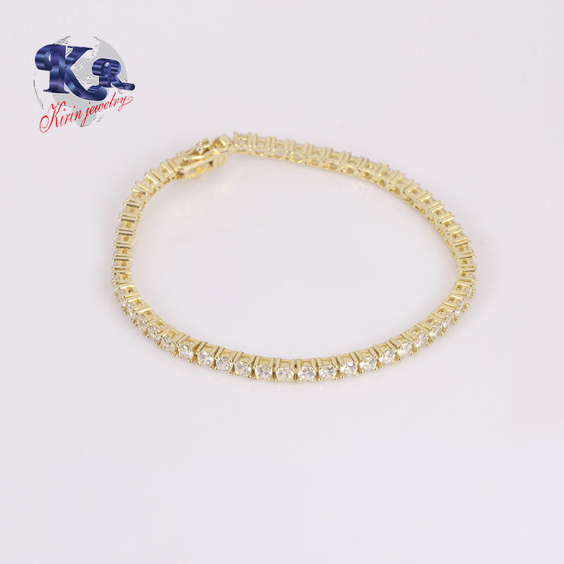 Fashion DIY Charm Tennis CZ Crystal Gold Bracelet 925 Silver Jewelry