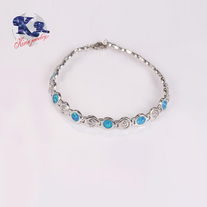 Blue Fire Opal Bracelet For Lady Party,Link Chain 925 Sterling Silver Jewelry