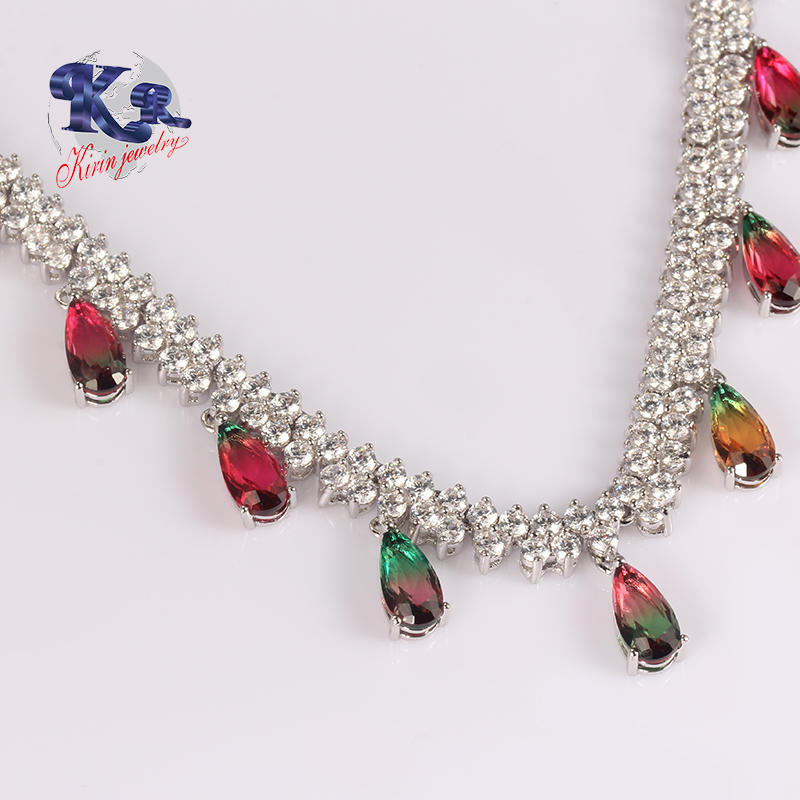 Factory Direct Sale Jewelry,Water Drop Shape Inmitation Tourmaline Beads 925 Silver Necklace