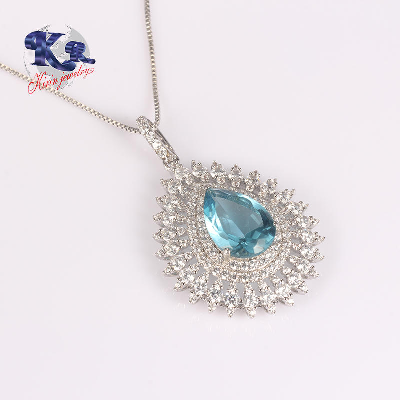 Blue Zircon Big Stone Sterling Silver 925 Pendant For Woman Love Chain Necklace