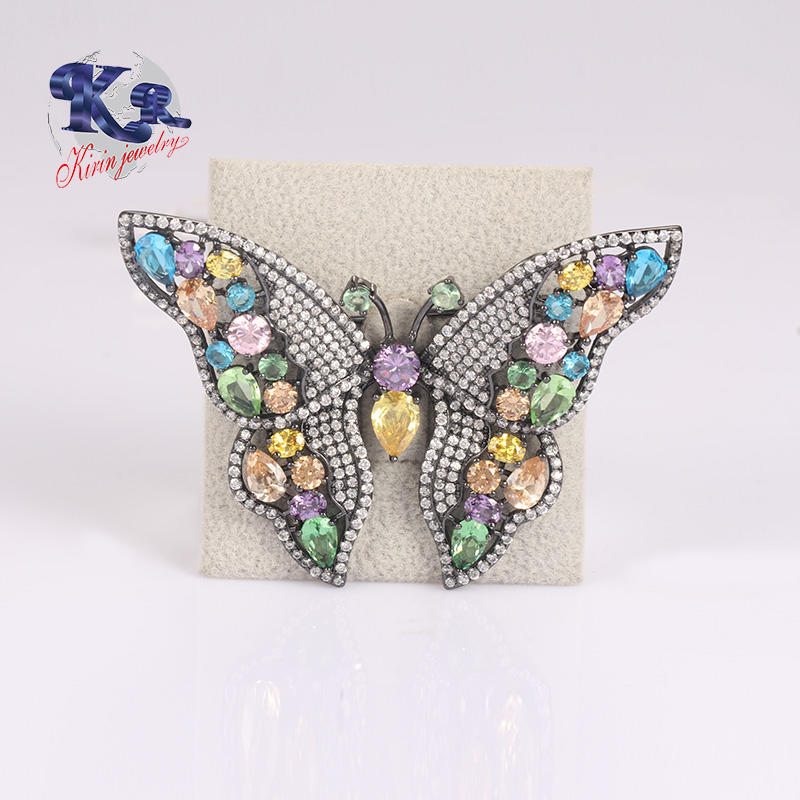 Beautiful Color Stone Butterfly Brooch 925 Silver Jewelry For Women