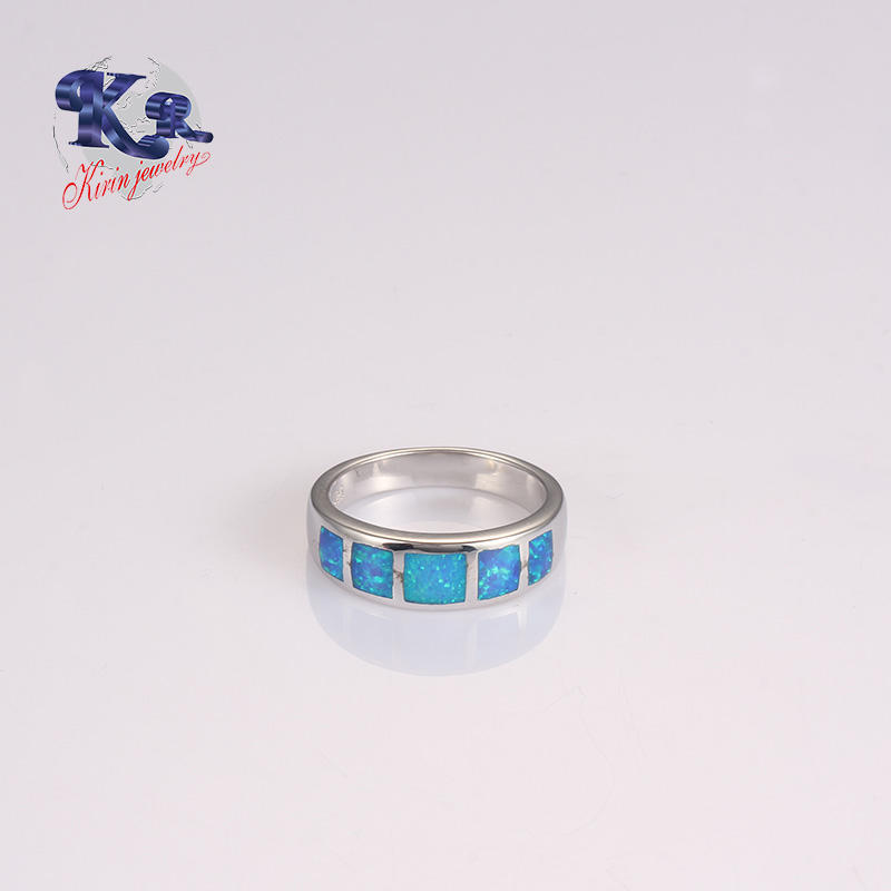 Gem Stone Ring Designs For Men Silver Blue Opal Jewelry Ring