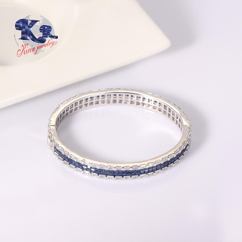 925 Sterling Silver Bangle Blue Stone Bracelet Jewelry,Best Gift For Your Love