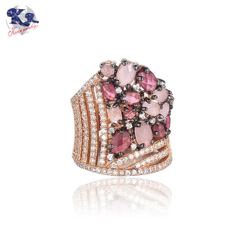 Classic Luxury Ring For Women Colorful AAA Cubic Zircon Kirin Jewelry 19546