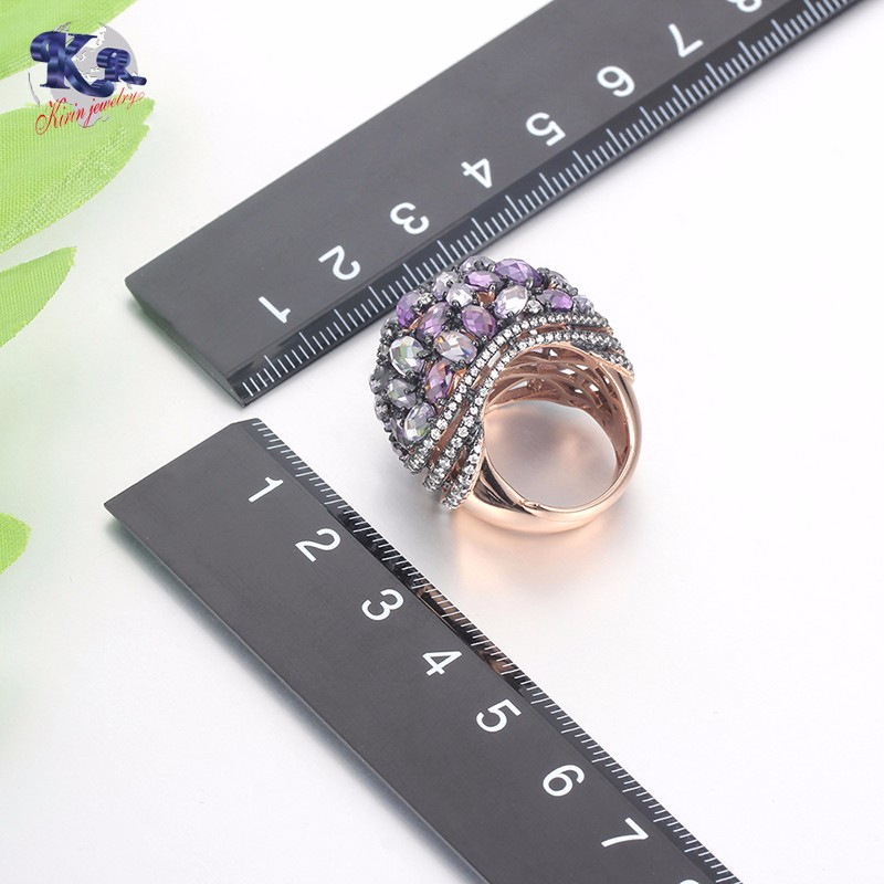 Kirin Jewelry -Silver Female Rings Mona Lisa Rose Gold Plated Amethyst Cubic-3