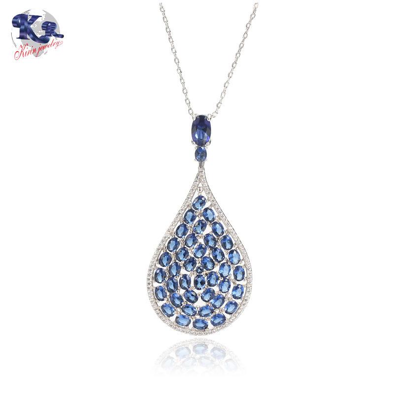 Handmade Jewelry Oval Cut Sapphire Zircon Stone 925 Sterling Silver Pendant Kirin  Jewelry 26321