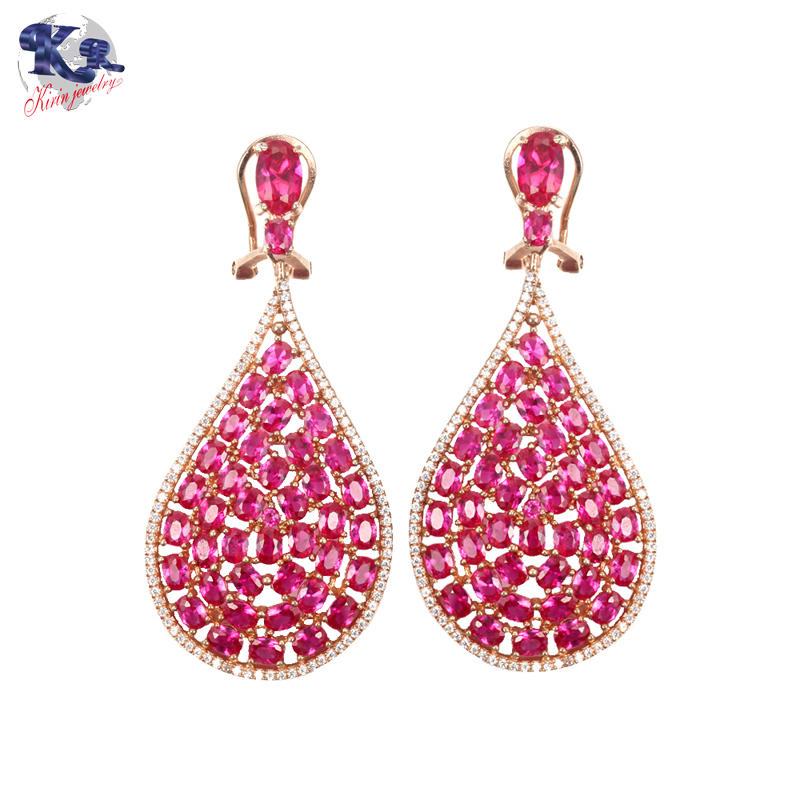 Kirin 925 sterling silver earrings ruby color stone for women 34190