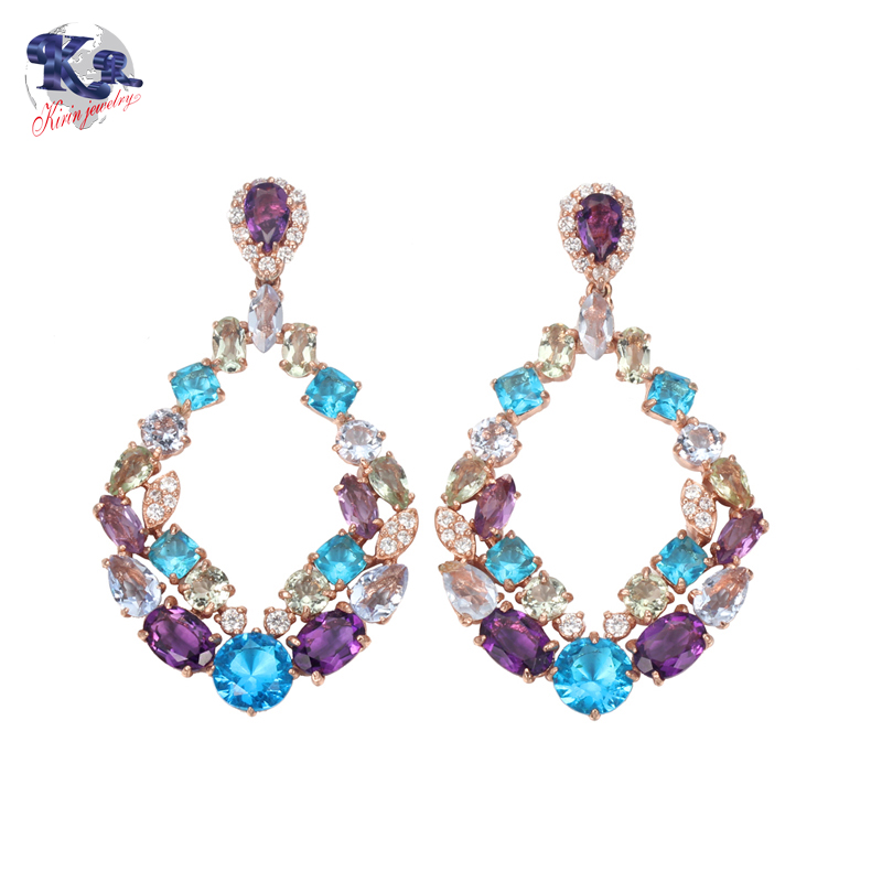 Kirin Jewelry -Sapphire Jewelry Earrings, Kirin 925 Sterling Silver Luxury Earrings