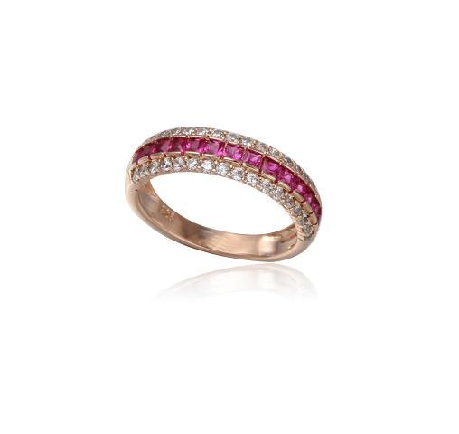 Sterling Silver Emerald Cut Ruby Ring Kirin Jewelry 104555