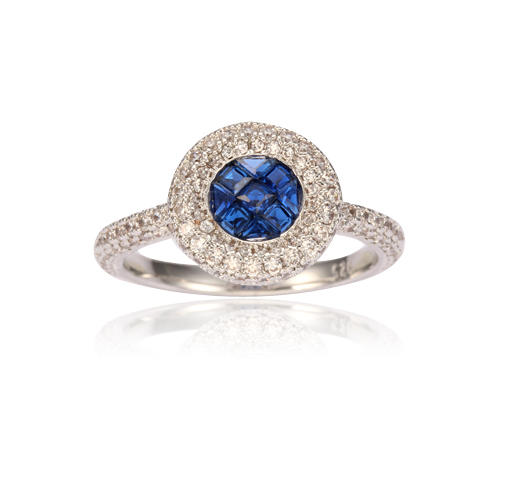 Square round blue Created Sapphire 925 Rhodium Plated Silver Women's Jewelry Ring Kirin Jewelry 104616