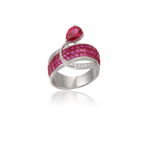 Sterling Silver Personalized Ruby ring customized engraved fine jewelry for women Kirin Jewelry 104764