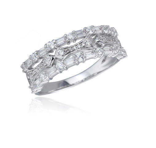 Sterling Silver Rhodium Cubic Zirconia 3 Row Baguette Cut Eternity Band Fashion Ring Kirin Jewelry 104241