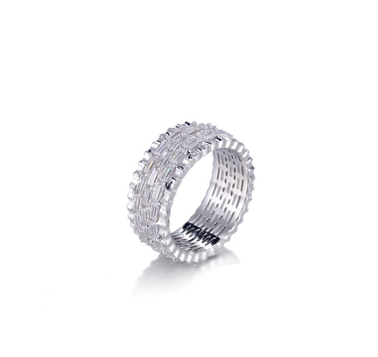 Women Cubic Zirconia Round & Baguette Eternity Ring Kirin Jewelry 105142