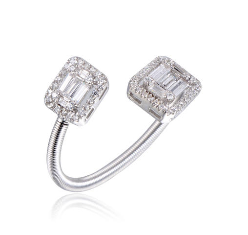 New Arrival Spring Adjustable Ring Baguette Cubic Zircon Ring Kirin Jewelry 104499