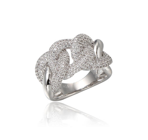 Classical Silver Ring with Cubic Zircon Rhodium Plated Kirin Jewelry 102429