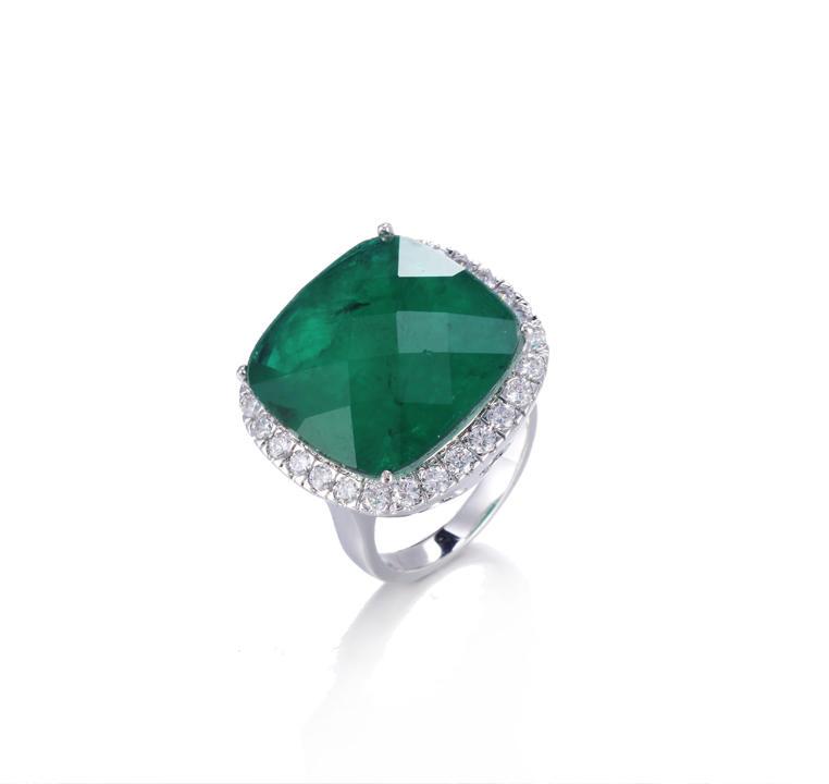 big stone Emerald color fashion jewelry ring for women Kirin Jewewlry 14896
