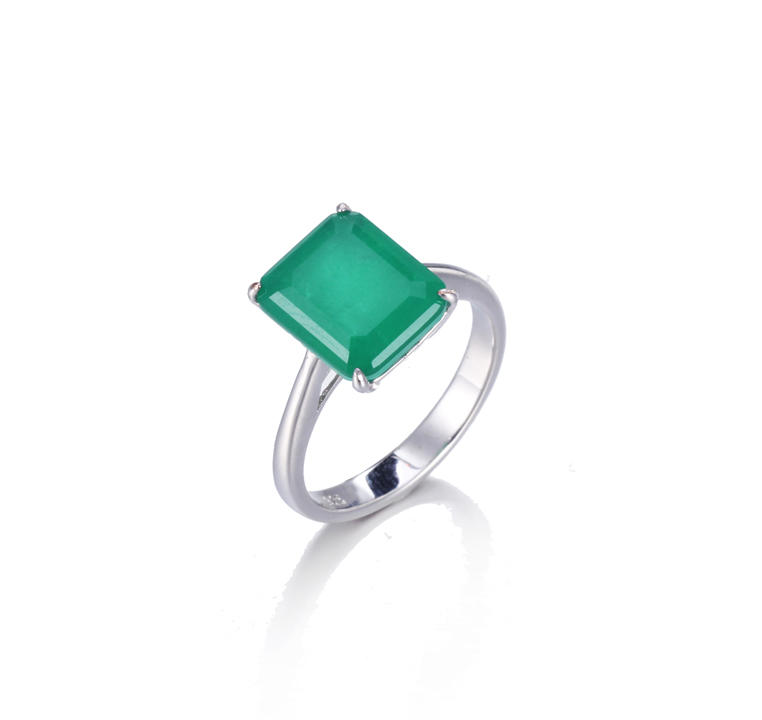 925 sterling silver Big Square Emerald Rings For Women Jewelry Kirin Jewelry 104719