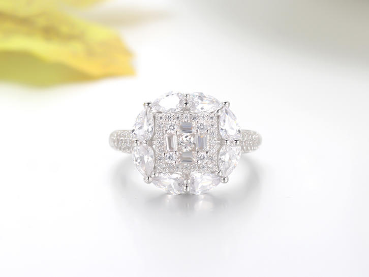 925 sterling silver rings baguette stone