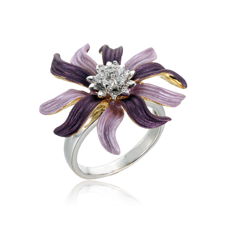 Trendy 925 Sterling Silver Flower Rings for Women Kirin Jewelry 101413