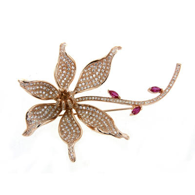Clear Cubic Zirconia Ruby stone Flower Brooch Pin Silver Plated Women's Jewelry 40188 Kirin Jewelry