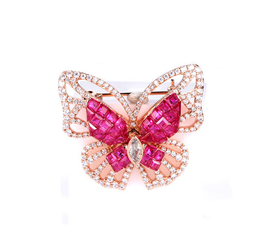 Rose Gold Plated Ruby Butterfly Cubic Zirconia Pin Brooch 40418 Kirin Jewelry