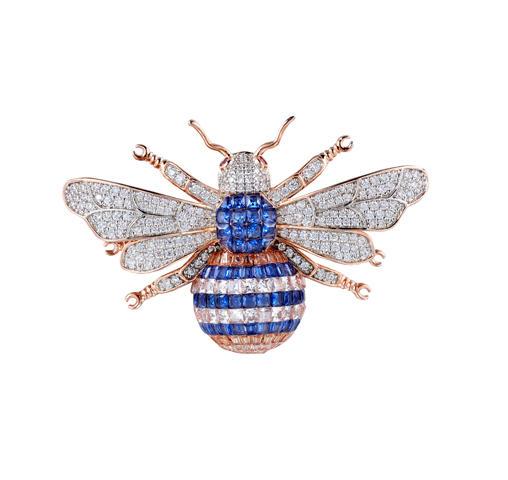 Rose Gold Tone Big Honeybee Pin Brooch Sapphire Cubic Zirconia 40257 Kirin Jewelry