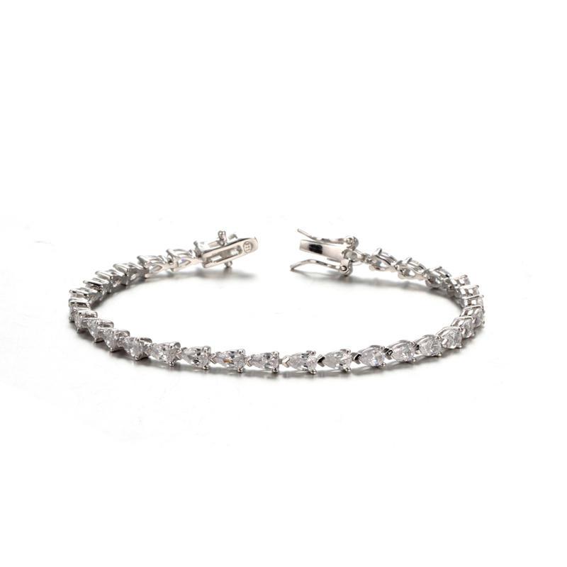 Women's Silver-tone Clear CZ Cubic Zirconia Pear Shape Teardrop Jewelry 61937 Kirin Jewelry