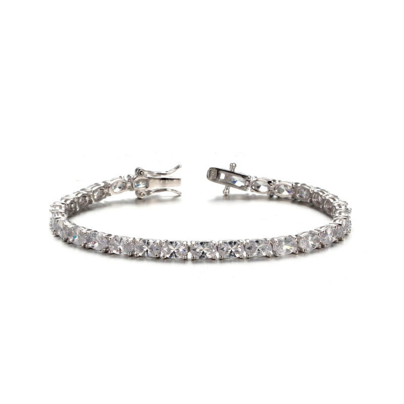 925 sterling silver Wedding Cubic Zirconia Bracelet Chain Link Silver Tone 61936 Kirin Jewelry