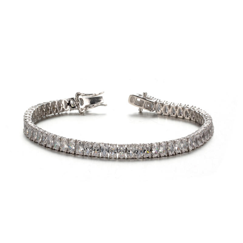 925 Sterling Silver Platinum Plated Oval Zircon Fashion Bracelet For Women 61935 Kirin Jewelry