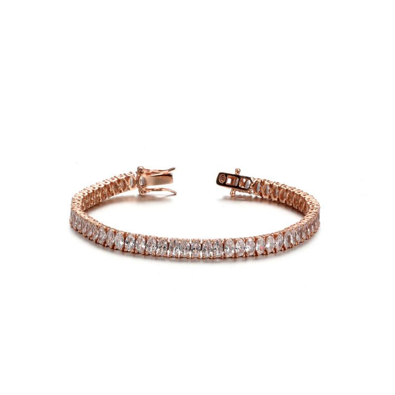 925 Sterling Silver Platinum Plated Oval Zircon Fashion Bracelet For Women 61935 Kirin Jewelry